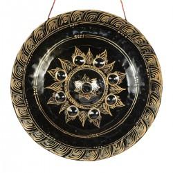 Gong flor central dorada y...
