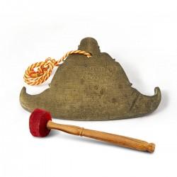 Campana birmana antigua y mazo