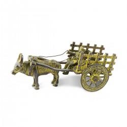 Carro tirado un buey en bronce