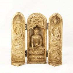 Tríptico talla de Buda